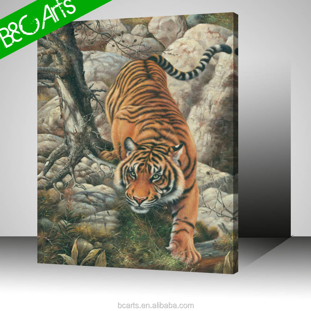 China realism style tiger print picture on pure cotton canvas