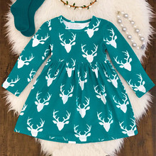 Fall winter baby girl party dress children cotton frocks designs christmas deer outfits boutique baby girl christmas dress