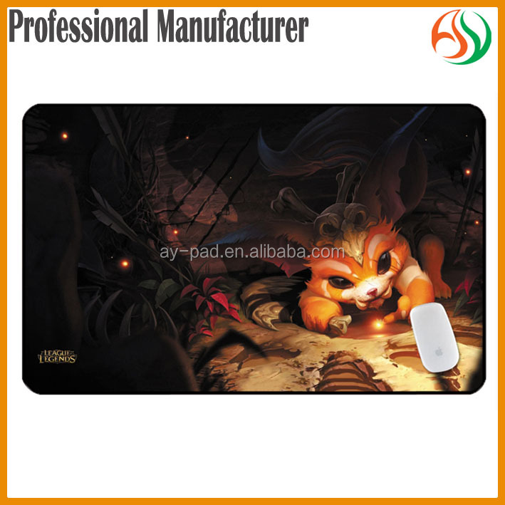 AY GNAR Computer LOL Playmat Rubber Gaming Mouse Pad Gaming Fighting LOL Playmat, OEM Anti-slip Nature Rubber Mats
