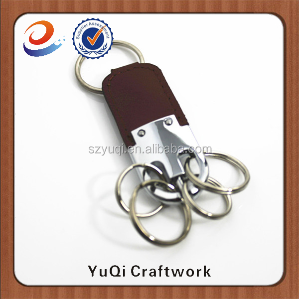 Customized logo high quality leather/metal key ring
