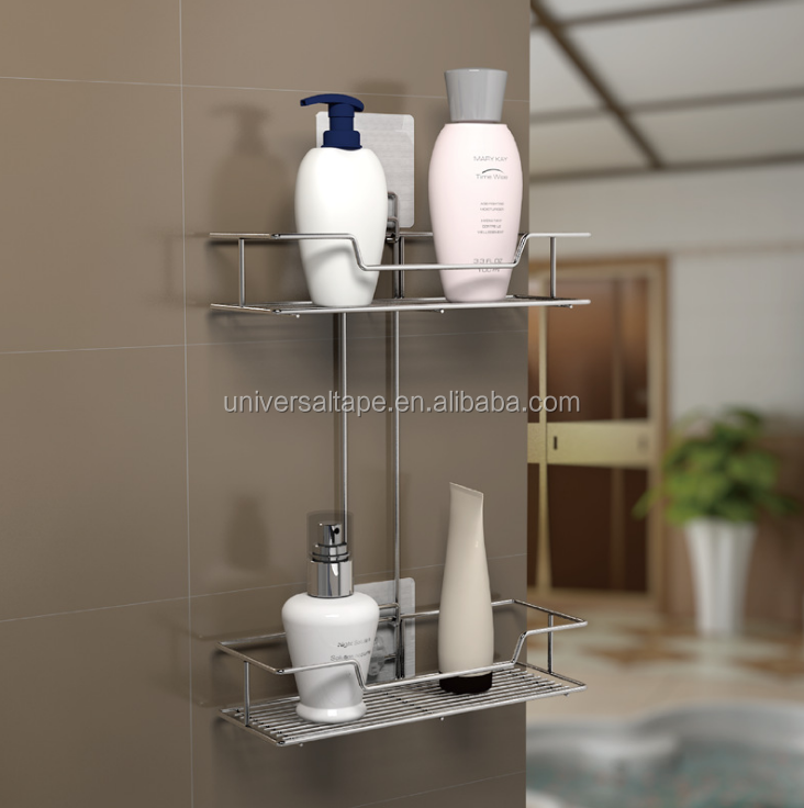 High quality adhesive stainless steel bathroom corner shelf