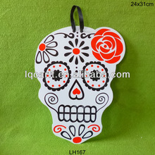 Halloween wooden wall plaque, flowered skull