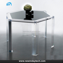 transparent customized simple hexigon acrylic table, lucite snack table furniture acrylic material