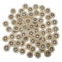 Sequin Appliques Beige Floral Style Acrylic Stone Patch Motif Sew Dress