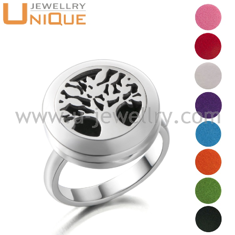 2017 Popular style tree of life design stainless steel locket ring