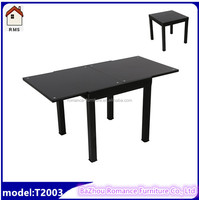 hot sale black tempered glass dining table retractable dining room table T2003