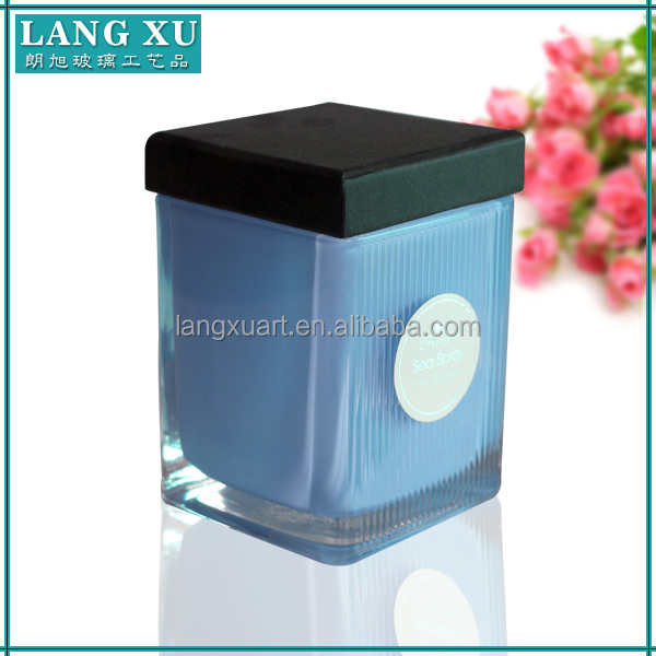 Square shape votive glass candle jars with lids