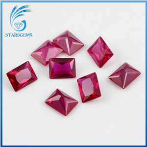 AAAAA quality rectangle shape princess cut red ruby gemstone