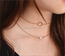 Best selling fashion simple 2 layer gold plated chain pearl choker