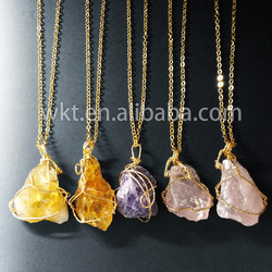 WT-N458 Natural raw stone brass wire wrapped necklace gold electroplated rough stone necklace