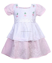 Fashion dresses for 2-8 years girls 2016 floral embroidery pink color dress