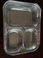 disposable aluminium foil tray 3 compartments for food packing