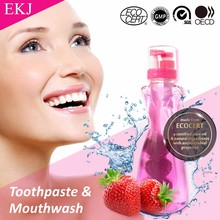 fluorodine anti-dental bacteria 2 in 1 strawberry flavo toothpaste mouthwash for fresh
