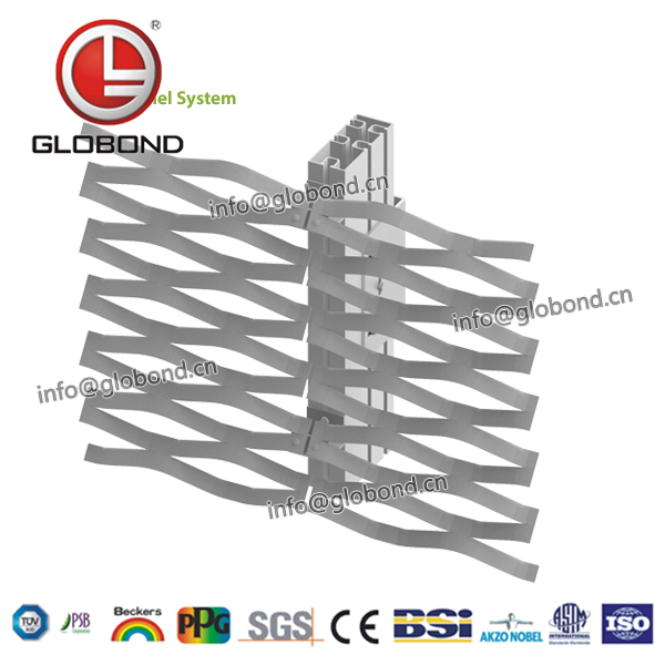 GLOBOND Grizzled Aluminium Expanded Metal Building Materials/protection Expanded Mesh/heavy Duty Expanded Metal Mesh