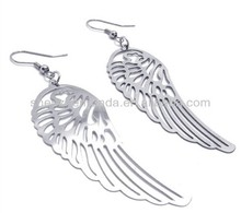 Angel wings never fade high quality stainless steel girl's lady's women's accesories drop earrings birthday engagement gift