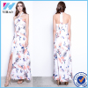 Women Sexy Elegant New Women Plus Size Sleeveless Sexy Vintage Print Cross Halter Neck Casual Maxi Dress