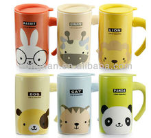 cartoon decal ceramic mug with silicone lid and handle wrap