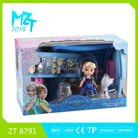 2016 New !Eco-friendly PVC5 inch princess doll +small Olaf+house +furniture Barbie Doll