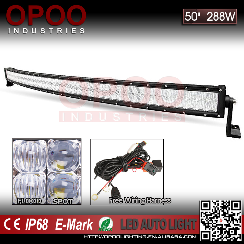 Best selling offroad jeep curved 50 inch 5d 288w led bar light