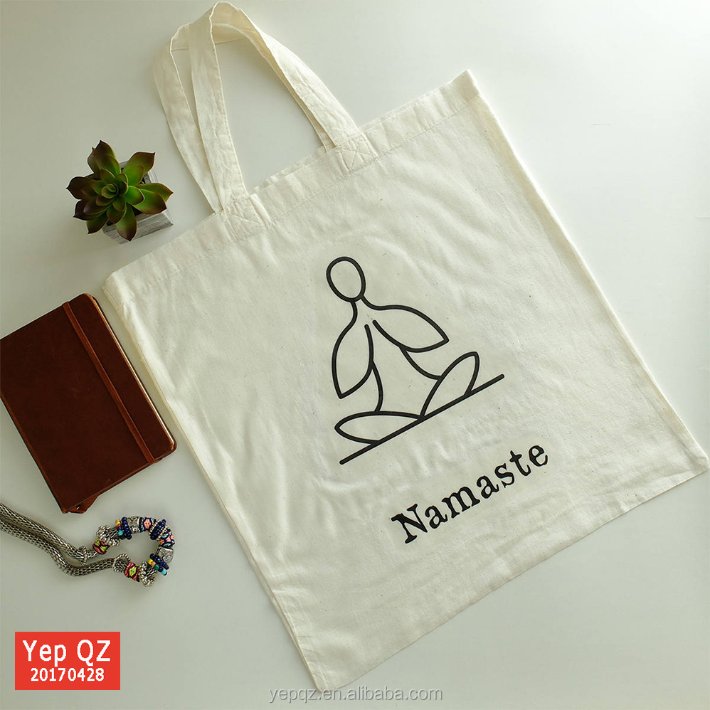 Recycled organic thin cotton fabric custom eco bag