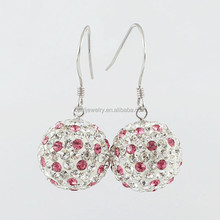White and Rose Color Crystal Ball Shaped 925 Sterling Silver Gold Plated Earrings