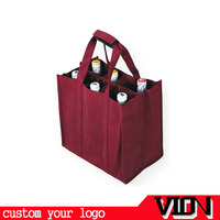 handle with cross-stich 6 bottle non woven tote wine bag wholesale