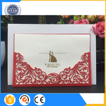 2017 hot sale elegant handmade glitter wedding invitation cards with ribbons&brooches