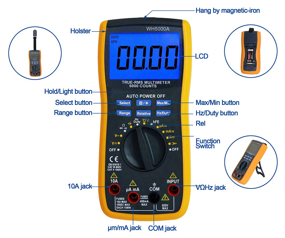 multimeter True RMS 6000 counts auto range Best Digital Multimeter WH5000A multitester