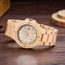 Big Case Wooden Japanese Movement China Watch Bamboo Wood Wrist Watch