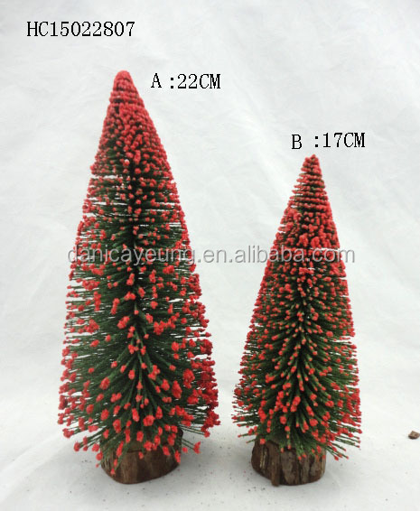 FIBER CHRISTMAS TREE W/ WOOD BASE WITH RED SNOWY