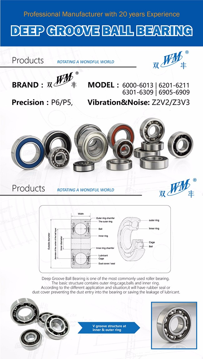 MLZ WM BRAND High precision Chrome steel GCR15 deep groove ball bearing 6203 17*40*12mm