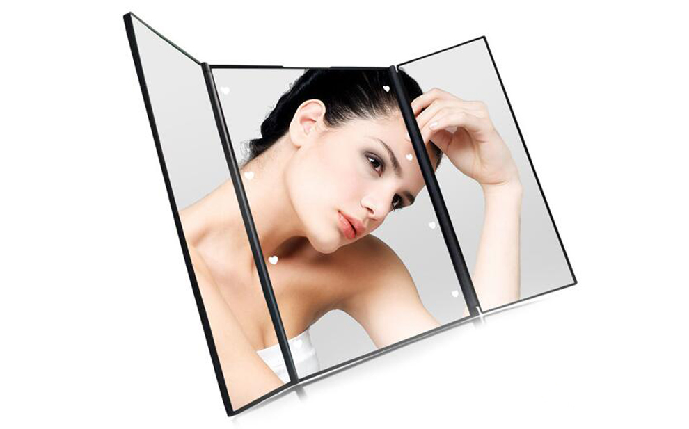 Touch screen sensing trifolded makeup mirror with led light