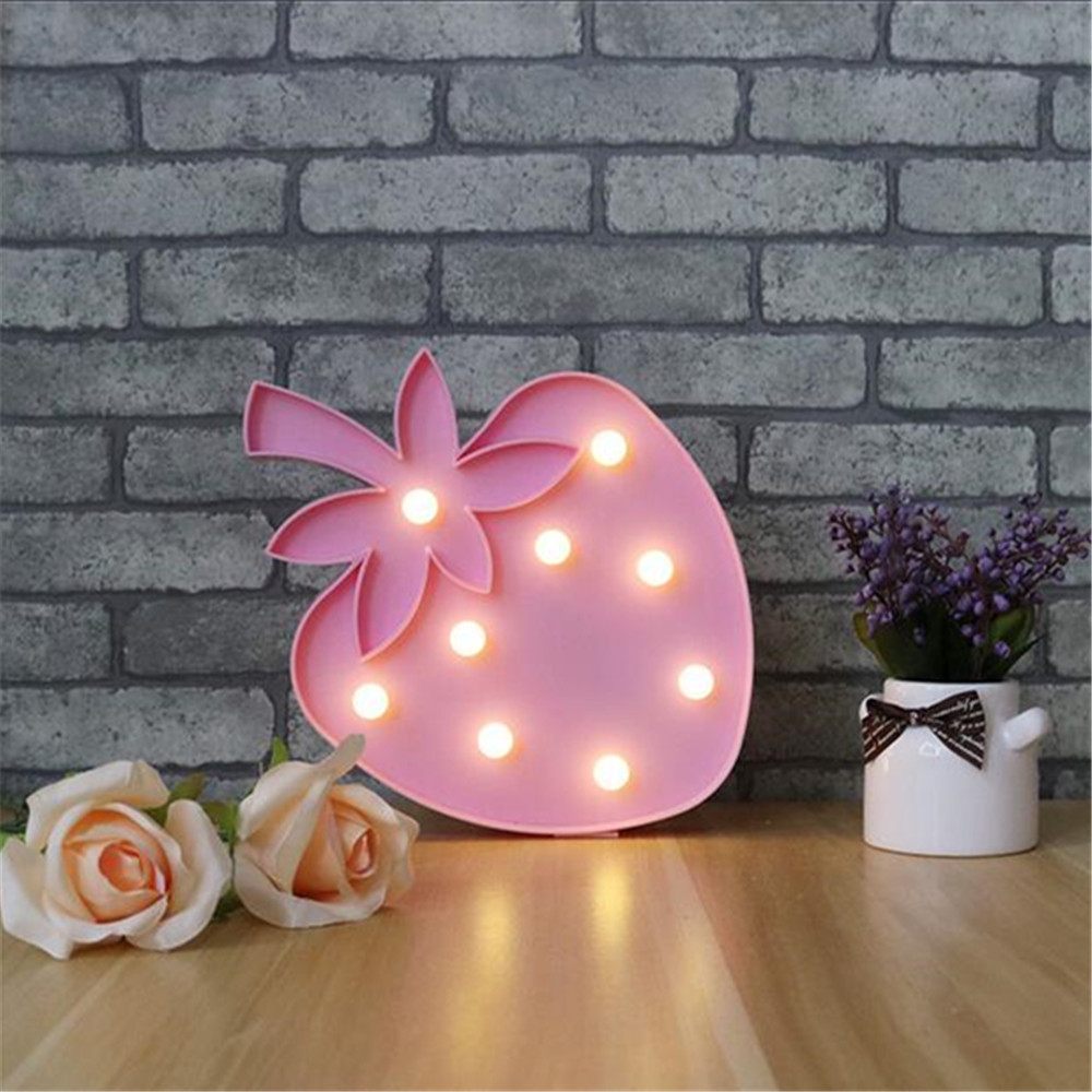 hot sale factory price strawberry marquee <strong>sign</strong> led christmas 3d baby led night light