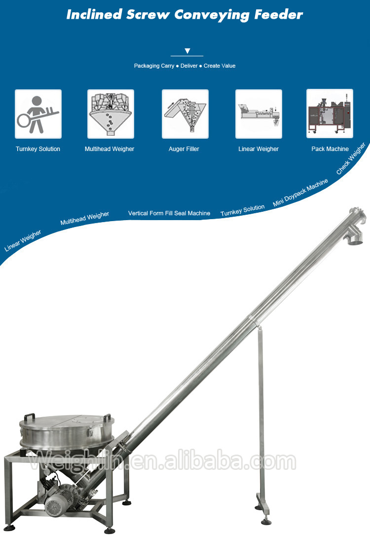 Flexible screw conveyor integrates auger filler linear weighing filler for lifting powder sluggish materials
