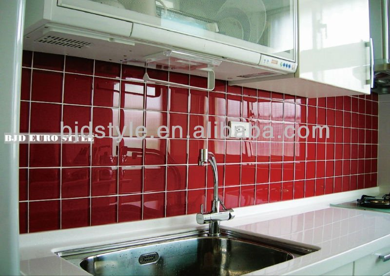 10x10 red glitter crystal clear glass mosaic tile for kitchen