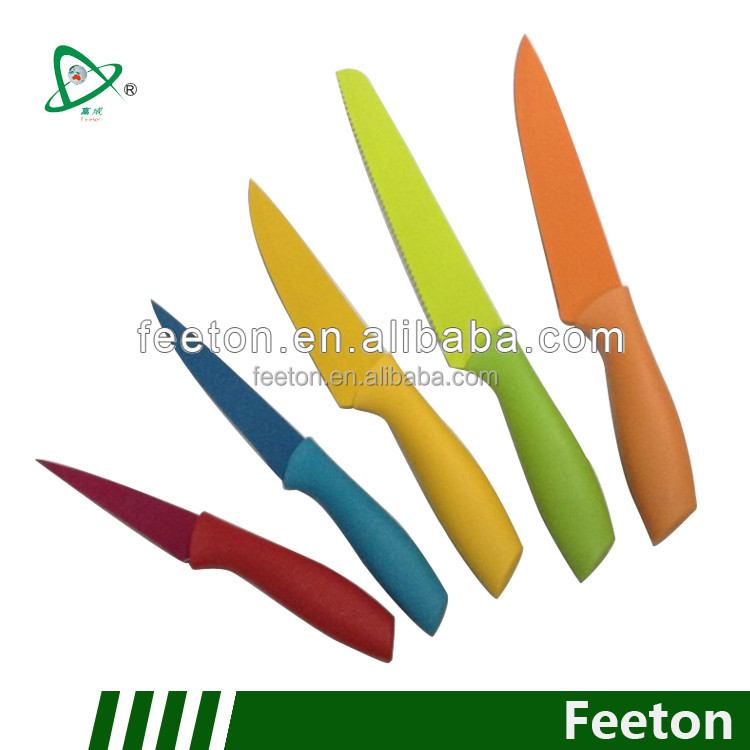 Teflon kitchen knives set made in china with non-stick coating