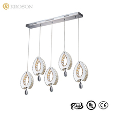 Hot Sell High End Ceiling Aslant Boat Metal Stainless Steel Pendant K9 Crystal Chandelier