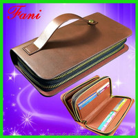 Long style men genuine leather clutch wallet with double zipper design for mens
