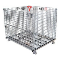 Wuhao foldable stackable metal storage box, metal wire basket, steel cage for sale