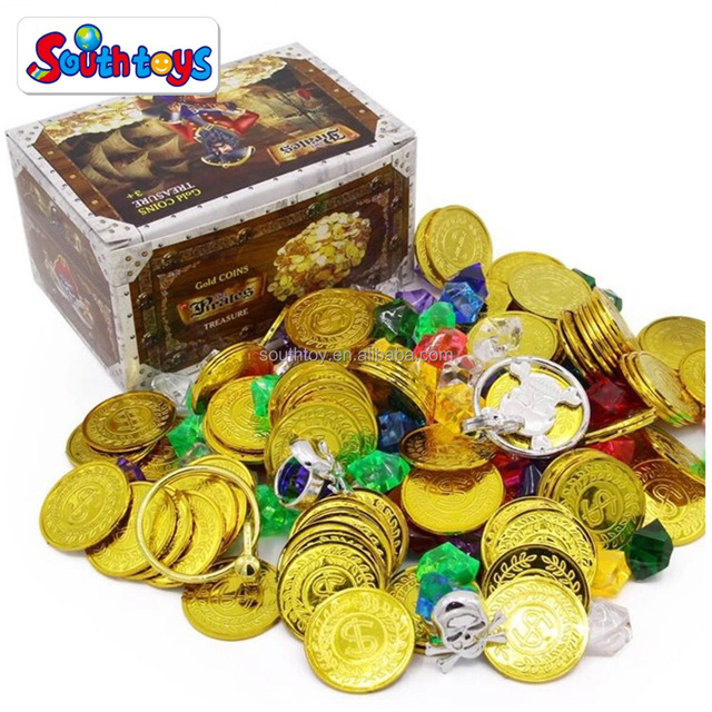 Gold Coins and Gems Pirate Jewel Box Treasure Chest Party Set