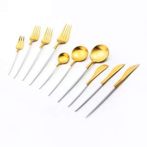 White and gold colored handle Flatware,Two Tone Colored Royal Cutlery Set
