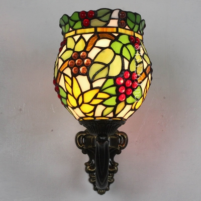 8 inch hot selling tiffany wall lamp with special fruit design on the stained glass by handmade