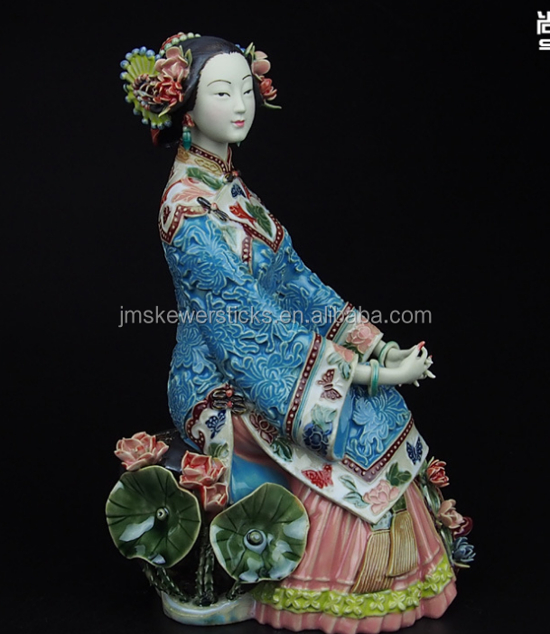 qing dynasty women ceramic statue for table decor