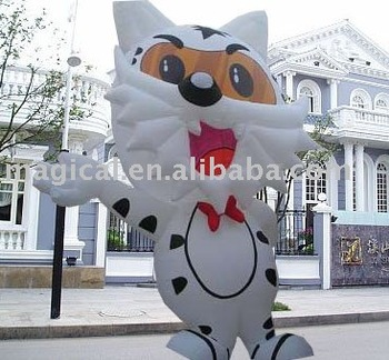Inflatable cute white cat model for advertising