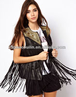 Autumn Latest Designed Fringed Leather Gilet With Embroidery jackets