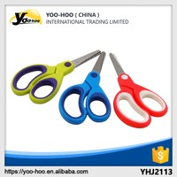 New style 133mm colorful stainless steel blades with PP+TPR handle blunt tip safty children scissors