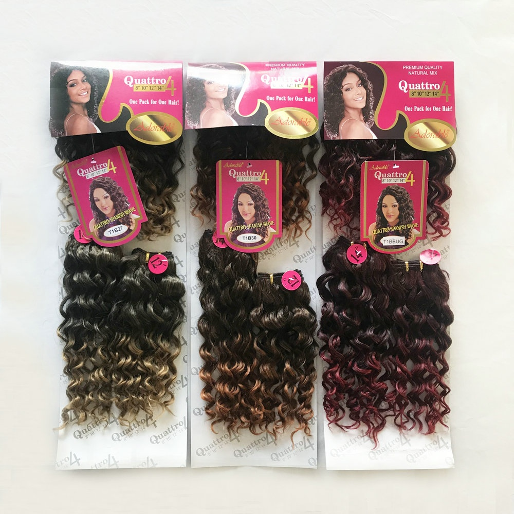 <strong>100</strong>% heat resistant fiber Quattro Spanish wave two tone ombre color synthetic 4 bundles/pack hair extensions with free fringe