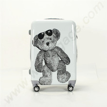 2016 New Cute bear pattern PC film+ABS material trolley travel luggage