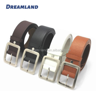Square Full Buckles PU Colored Fashion Belt