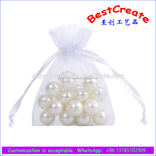 Custom Recyclable 5x7 Inch white drawstring Sheer Organza silk fragrant bag